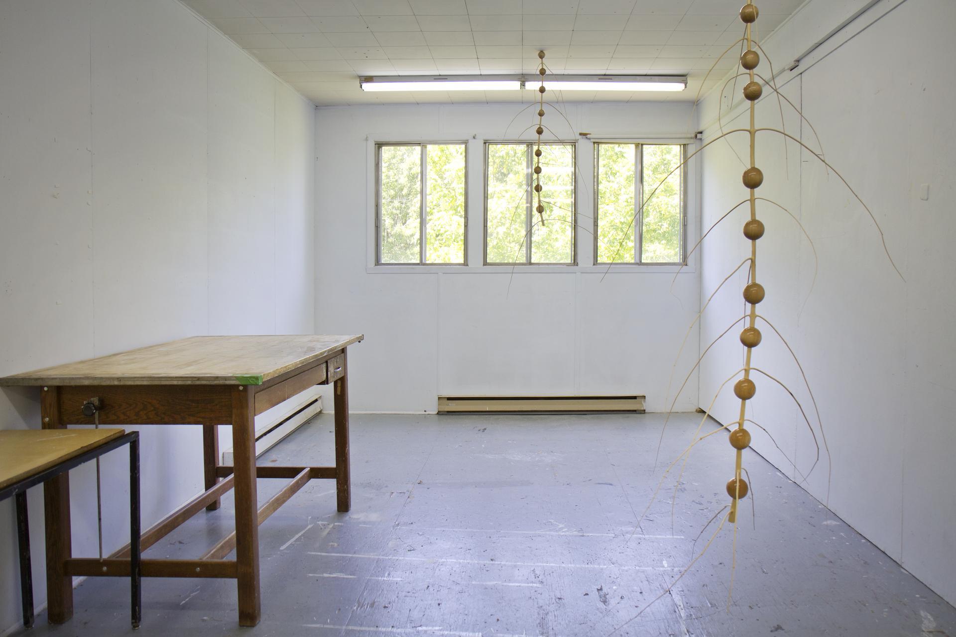 Vue de l'atelier de Joo-Hee Yang en résidence